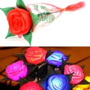 新款 永不凋谢的带枝条玫瑰花灯 七彩LED小夜灯--红色