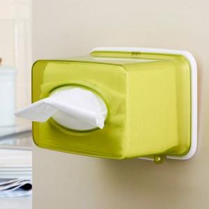 防水无痕吸壁纸巾盒 纸巾抽--绿色 小号(2902)