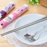 卡通不锈钢便携餐具三件套-紫色猫