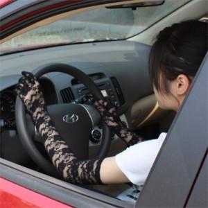 夏季抗UV透气防晒袖套 蕾丝长款手套 黑色有指