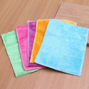超细竹纤维彩色双面抹布 洗碗巾 清洁巾 玫红色