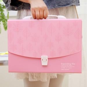 创意办公用品12格纯色A4手提风琴包 文件包 NO.5880 粉色