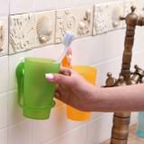 创意生活 炫彩吸盘漱口杯 吸壁式洗漱杯架套装 绿色