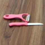 厨房用品 陶瓷水果刀削皮器两件套(刨子+刀子) 绿色