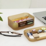 精美塑料桌面抽屉收纳盒 化妆盒-带盖 小号 咖啡色