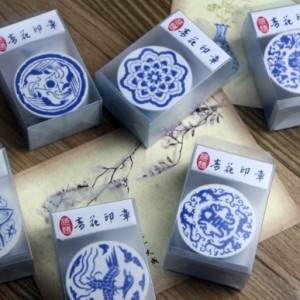 中国风复古木质DIY日记印章 青花瓷印章 QL-0161-03