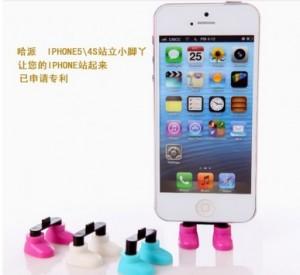 创意可爱iPhone手机站立小脚丫站立器 紫色
