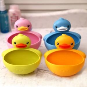 可爱小鸭子肥皂盒 强力吸盘多功能壁挂收纳 蓝色