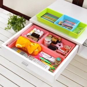 进口塑料收纳盒抽屉整理盒 创意储物盒(小号) 蓝色