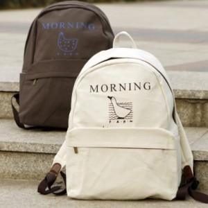 韩版早安系列双肩包 创意帆布背包 休闲包 旅行包 MH13-1290 墨绿