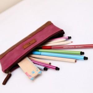 韩国文具 北欧怀旧PU皮质笔袋 文具袋 SV13-054 深蓝色