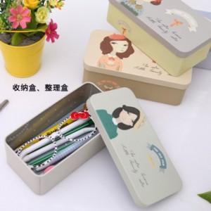 创意长方形coco小姐系列马口铁收纳盒 中号 MH13-1675 卡其色女孩