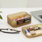 精美塑料桌面抽屉收纳盒 化妆盒-带盖 小号 棕色
