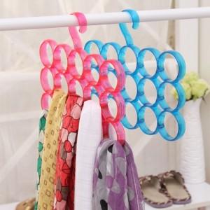 创意家居 北欧风炫彩围巾领带腰带挂架 圈圈围巾架-15环 绿色