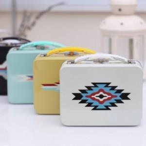 印第安系列按扣手提午餐盒 收纳盒 小号 MH13-466 米白
