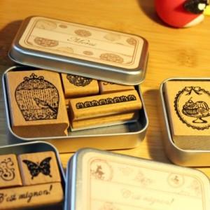 美好时光DIY铁盒木质印章(4枚入)QL-0151 Merci beaucoup