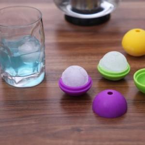 冰爽夏季糖果色食品级硅胶足球形冰模 冰球 橙色