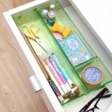 北欧水晶透明易分类桌面抽屉收纳盒 整理盒 三件套 绿色