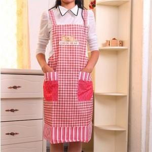 厨房用品 韩版1328号围裙 吊带式围裙  玫红色