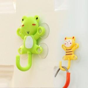 全新料带专利 小笨笨卡通多用爬墙小子吸盘挂钩(带四吸盘) 青蛙