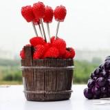 韩版仿真树脂水果叉子套装 零食叉 水果签--木桶草莓