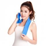 日韩热卖夏季降温消暑冰爽毛巾 运动健身吸汗冰巾(大号) 蓝色