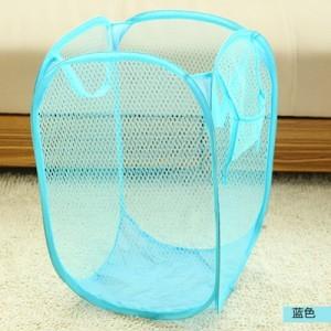 大号新款创意家居彩网折叠式脏衣篮/衣服收纳筐/脏衣篮-天蓝色