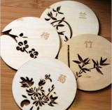 创意中国风圆形立体镂空木质杯垫 餐垫 隔热垫-梅兰竹菊 梅