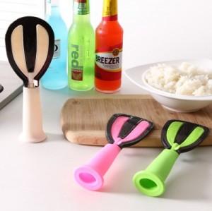 创意多功能立式不沾米饭勺 洗米器 打蛋器 可旋转饭勺 玫红色