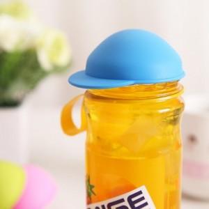 日式可爱帽子易拉罐密封盖 可乐保鲜盖 硅胶防尘杯盖 蓝色