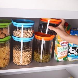 厨房必备可叠加食品密封储物罐零食收纳罐透明塑料密封罐保鲜盒 AS-823(小号单个装) 蓝色