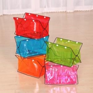 彩色透明PVC桌面杂物收纳架 红色