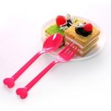 糖果色蛋糕甜点西餐叉勺套装 爱心叉子勺子(8个装)
