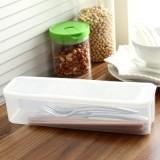 塑料透明长条收纳筷子盒 带盖餐具收纳盒