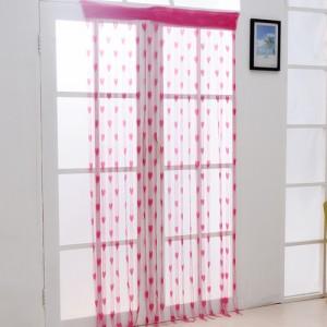 加密款韩式浪漫心形线帘门帘--玫红色