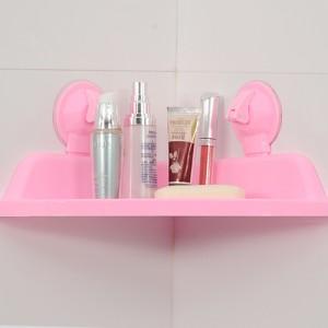 强力吸盘三角浴室置物架--粉色