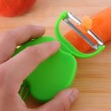 多功能苹果型不锈钢削皮器 可折叠瓜果刨 去皮刀--绿色 1箱2000个