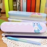 韩国文具 精灵物语双层铁盒 马口铁文具盒 笔盒 SV13-421 浅蓝