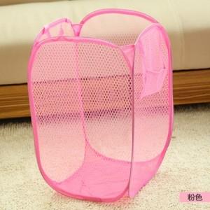 大号新款创意家居彩网折叠式脏衣篮/衣服收纳筐/脏衣篮-粉色
