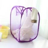 大号新款创意家居彩网折叠式脏衣篮/衣服收纳筐/脏衣篮-紫色