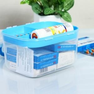 加厚透明家庭用多功能妆台收纳箱 药箱 SY-025 蓝色