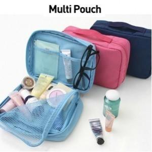 韩版多功能防水旅行收纳包手提包带网格 玫红