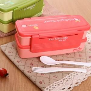 双层日式便当盒 微波炉饭盒 369 绿色
