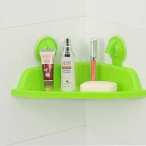 强力吸盘三角浴室置物架--绿色