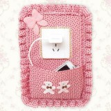 田园布艺开关贴防尘套 创意装饰插座花色带兜 粉色圆点