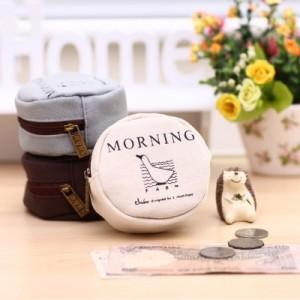 韩版时尚复古早安系列帆布零钱包 MH13-1278 米白