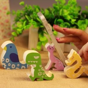 创意时尚 可爱动物手机座  多功能木质固定手机架 黄龙