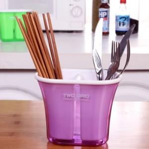 两格沥水筷子筒 创意筷子架 多功能可拆卸收纳盒 RL192 黄色