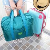 韩版大容量防水尼龙可折叠式旅行收纳包 手提旅游收纳袋 湖蓝色