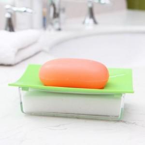 创意可拆式塑料双层沥水肥皂盒 带吸水海绵香皂盒 蓝色